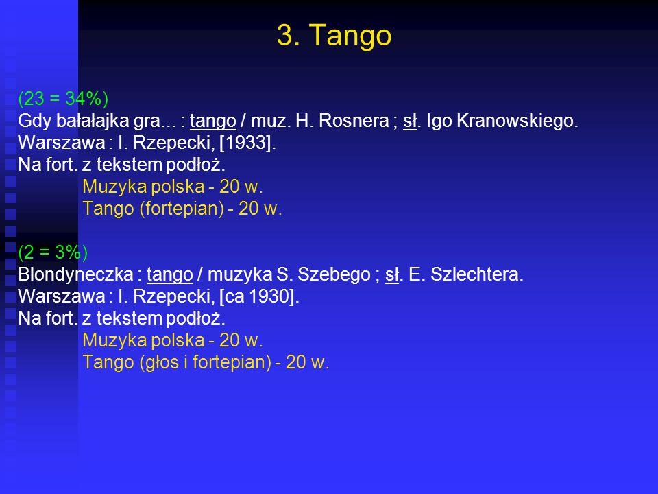 3. Tango (23 = 34%) Gdy bałałajka gra... : tango / muz. H. Rosnera ; sł. Igo Kranowskiego. Warszawa : I. Rzepecki, [1933].